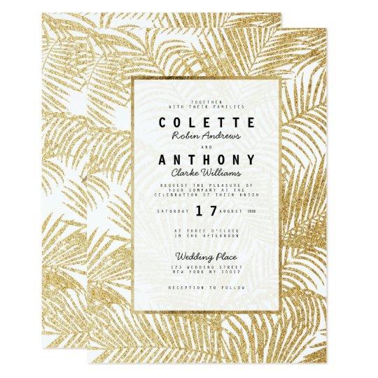 Modern simple faux gold glitter palm tree Wedding