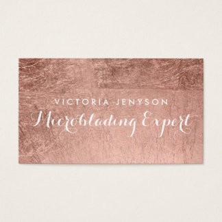 Modern simple faux rose gold chic Microblading Business Card