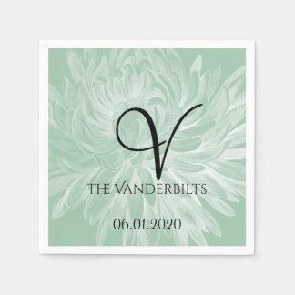Modern Simple Flower in Mint Green Wedding Napkin Paper Napkins