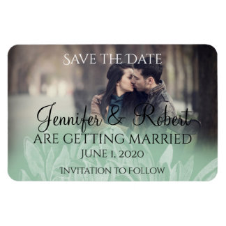 Modern Simple Flower in Mint Wedding Save the Date Rectangular Photo Magnet