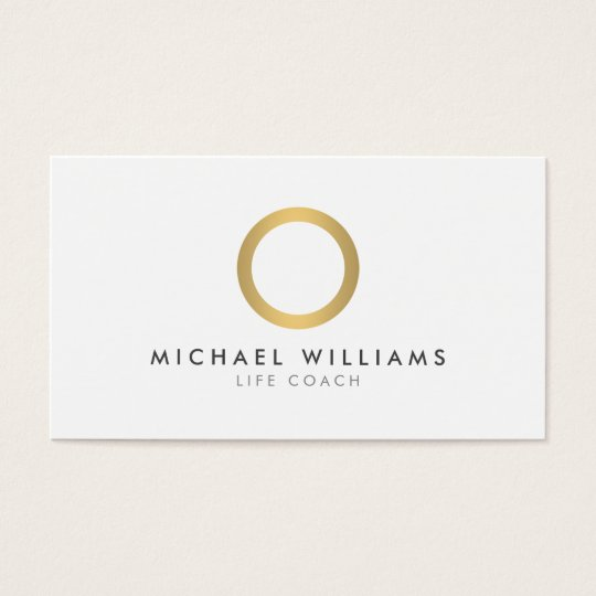 Modern Simple Gold Circle White Business Card