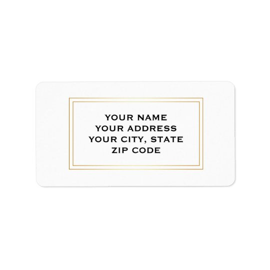 Modern Simple Gold Square Boarder Business Address Label