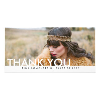 Modern Simple Graduate Thank You Typography Personalized Photo Card