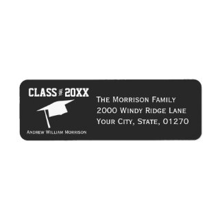 Modern Simple Gray Graduation Cap Class of 20XX Return Address Label