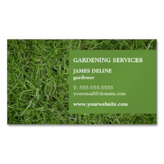 Modern Simple Green Grass Gardener Magnetic Business Cards