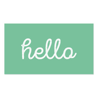 Modern simple green hello script graphic designer pack of standard business cards
