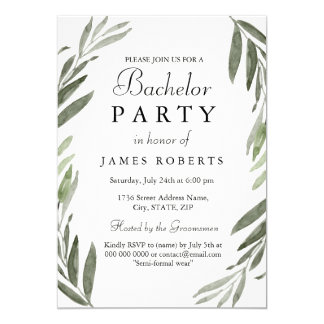 Modern Simple Green Leaf Bachelor Party Invite