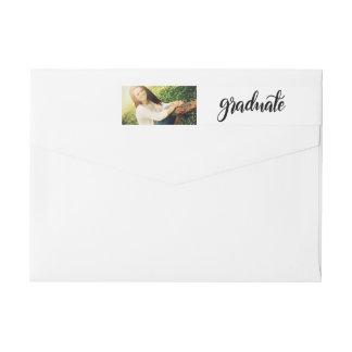 Modern Simple Handwritten Graduate Photo Wrap Around Label