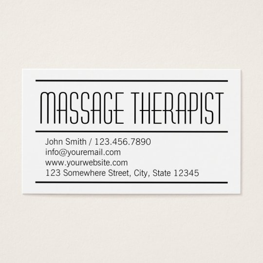 Modern Simple Massage Therapist Business Card