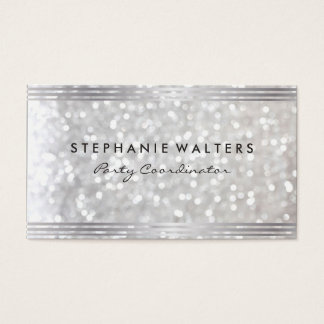 Modern Simple Metallic Silver and Glitter Business Card