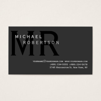 Modern Simple Monogram Gray Business Card