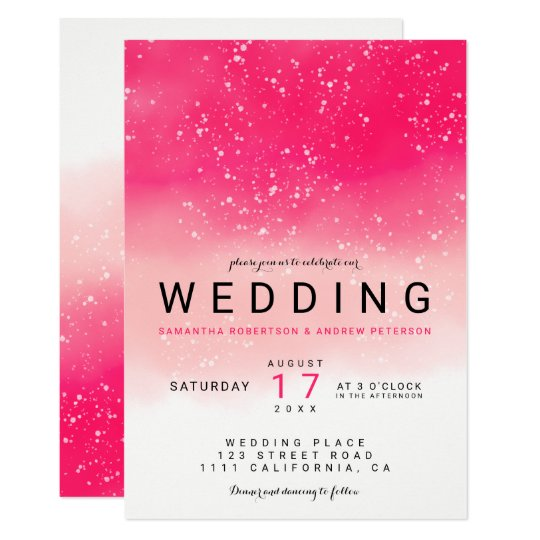 Modern simple neon pink ombre watercolor wedding card