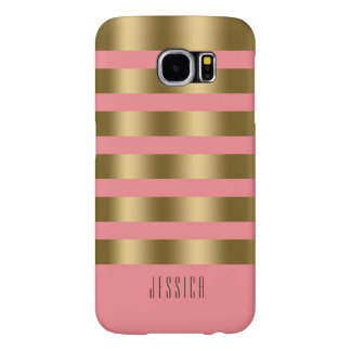 Modern Simple Pink & Gold Stripes Samsung Galaxy S6 Cases