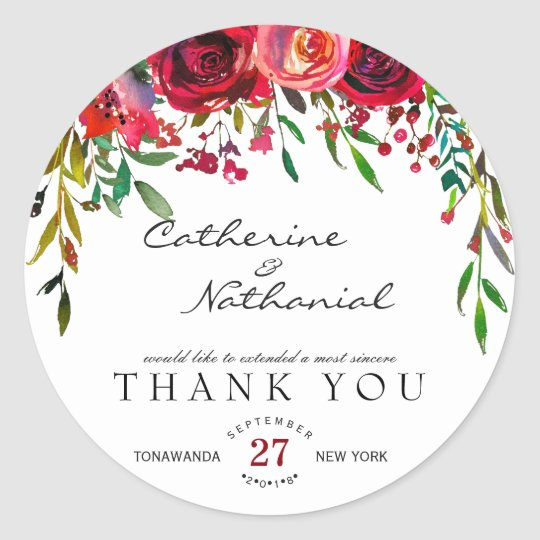 Modern Simple Red Rose Thank You Sticker