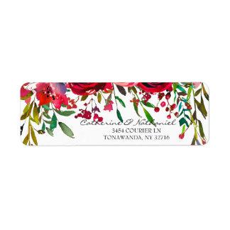 Modern Simple Red Rose Wedding Label