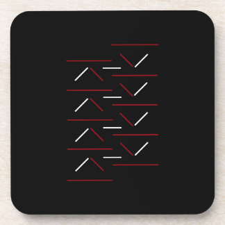 Modern & Simple Red & White Line Pattern On Black Coaster