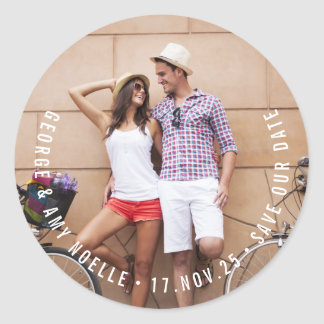 Modern Simple Save The Date Custom Photo Sticker