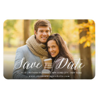Modern Simple Script Save The Date Photo Magnetic Rectangular Photo Magnet