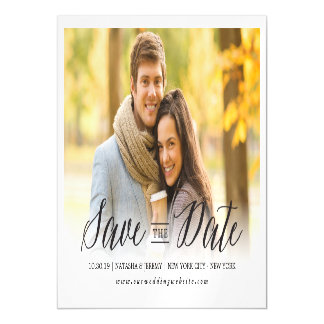 Modern Simple Script Save The Date Photo Magnetic Magnetic Invitations