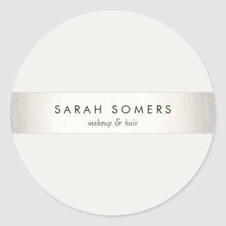 Modern Simple Silver and White Stripe Classic Round Sticker