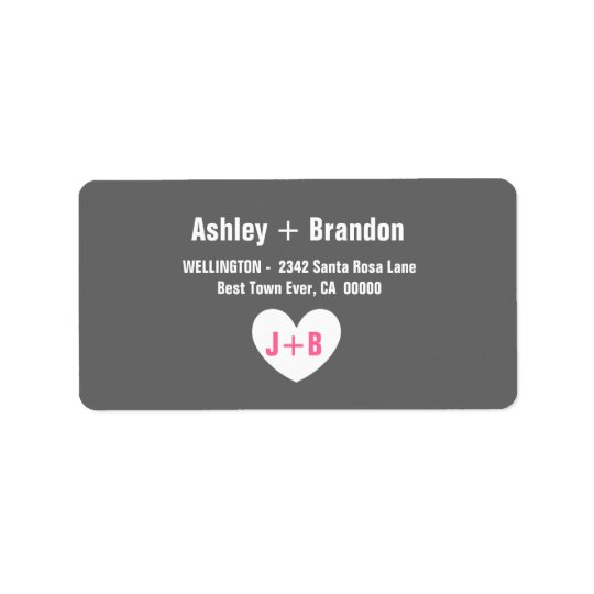Modern Simple Style GRAY with Heart V022 Address Label