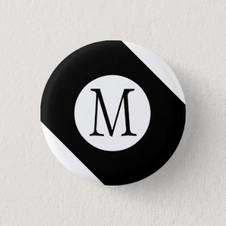 Modern, Simple & Stylish Black and White Monogram 3 Cm Round Badge