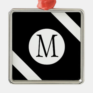 Modern, Simple & Stylish Black and White Monogram Christmas Ornament