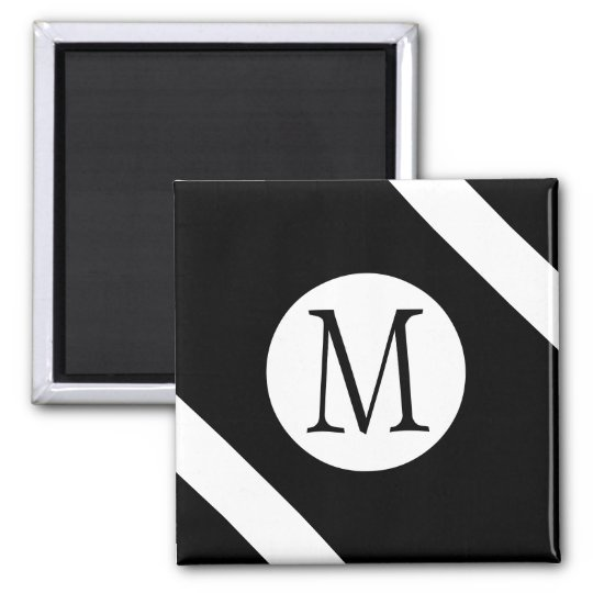 Modern, Simple & Stylish Black and White Monogram Magnet