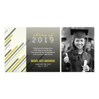 Modern Simple Stylish Stripes Graduation Thank You Custom Photo Card