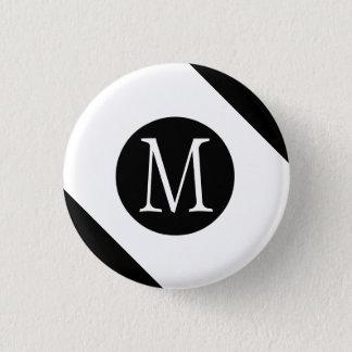 Modern, Simple & Stylish White & Black Monogram 3 Cm Round Badge