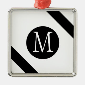 Modern, Simple & Stylish White & Black Monogram Christmas Ornament