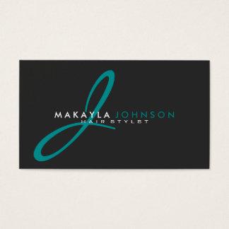 Modern & Simple teal blue Monogram Professional Business Card