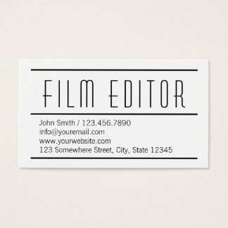 Modern Simple White Film Editor Business Card