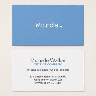 Modern simple writer publisher editor blue-gray business card