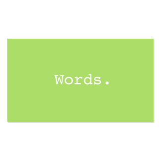 Modern simple writer publisher editor lime green pack of standard business cards