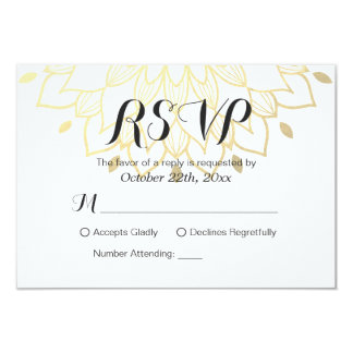 Modern Simply White Gold Floral RSVP Reply Card 9 Cm X 13 Cm Invitation Card