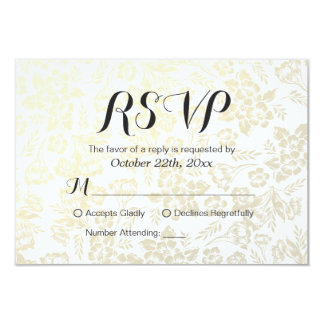 Modern Simply White & Gold Floral RSVP Reply Card 9 Cm X 13 Cm Invitation Card