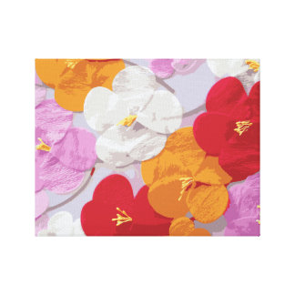 Modern Sketch Pink Red Orange Yellow Floral Print Stretched Canvas Print