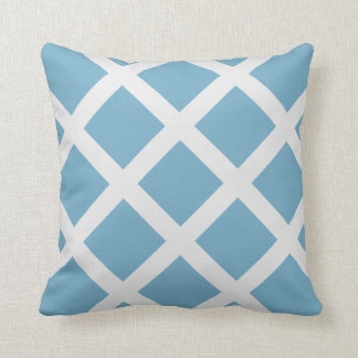 Modern Sky Blue and White Criss Cross Stripes Throw Pillow