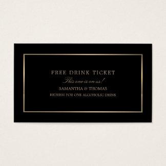 Modern & Sleek, Black & Gold, Free Drink Ticket