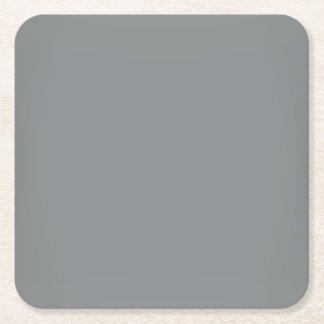 Modern Sleek Silver Customizable Square Paper Coaster