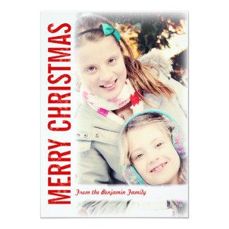 Modern Snow Frame Christmas Greeting Photo Card