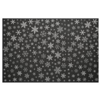 Modern Snowflake 2 -Black & Silver Grey- Fabric