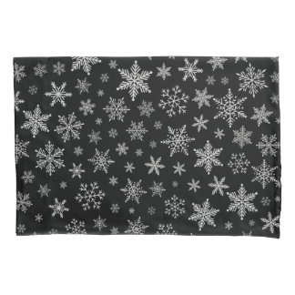 Modern Snowflake 2 -Black & Silver Grey- Pillowcase