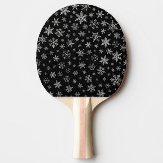 Modern Snowflake 2 -Black & Silver Grey- Ping Pong Paddle