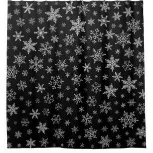 Modern Snowflake 2 Black Silver Grey Shower Curtain