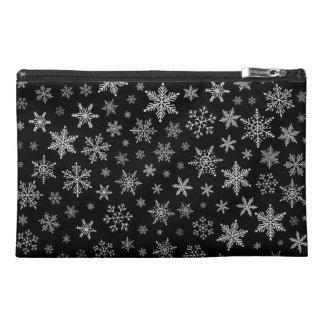 Modern Snowflake 2 -Black & Silver Grey- Travel Accessory Bag