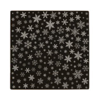 Modern Snowflake 2 -Black & Silver Grey- Wood Coaster