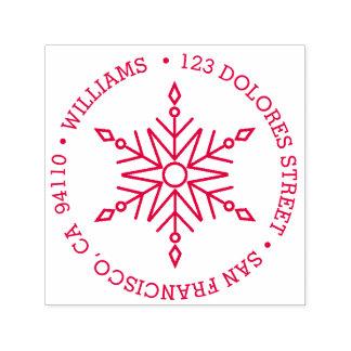 Modern Snowflake Circular Holiday   Return Address Self-inking Stamp