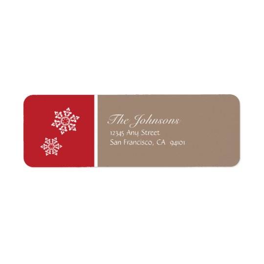 Modern Snowflake Holiday Labels (red & grey)